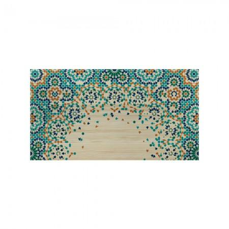Tête de lit en bois naturel mosaïque orange et bleu