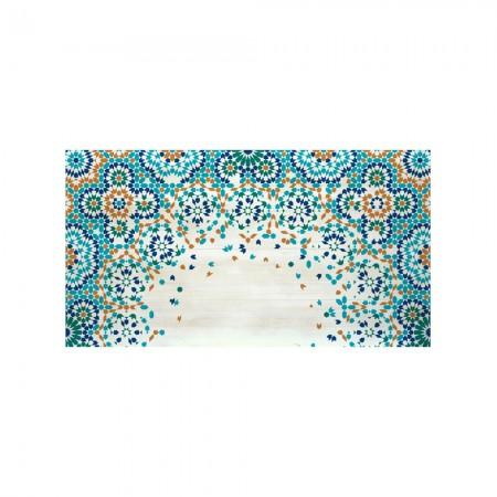 Cabecero decapado mosaico naranja y azul