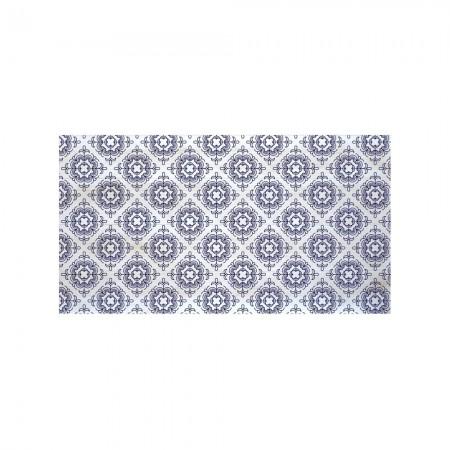 Tête de lit décapée en blanc mosaïque bleu