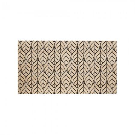 Tête de lit en bois naturel feuille géométrique