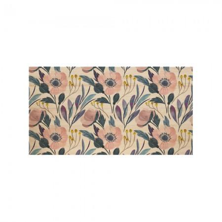Tête de lit en bois naturel florale moderne