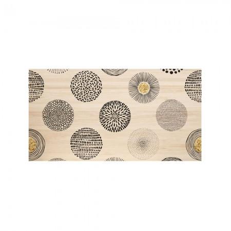 Tête de lit naturel 'Cercles abstraits noir et jaune'
