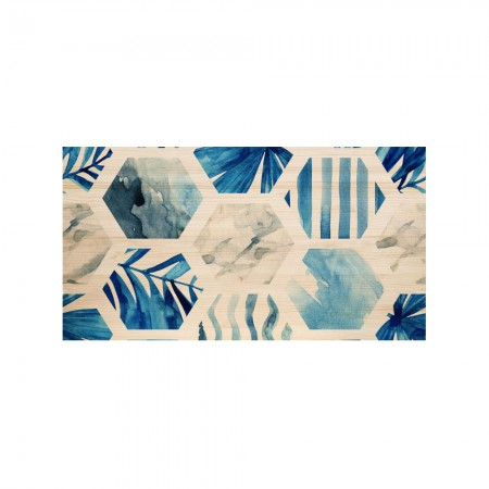 Tête de lit naturel 'Bleu Hexagones'