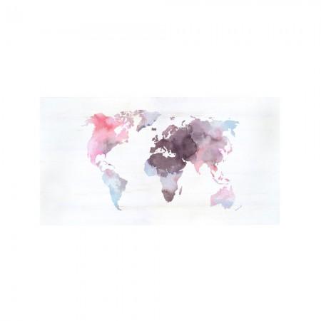 Tête de lit décapage 'Aquarelle monde rose'