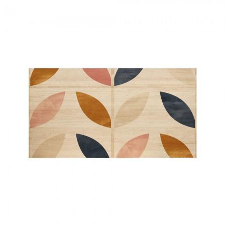 Tête de lit naturel 'Plante géométrique multicolore'