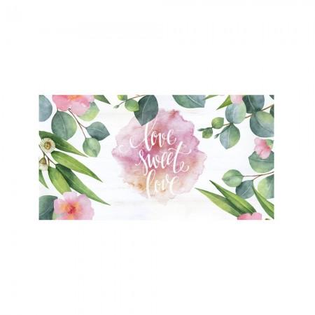 Tête de lit décapage 'Aquarelles plantes amour'