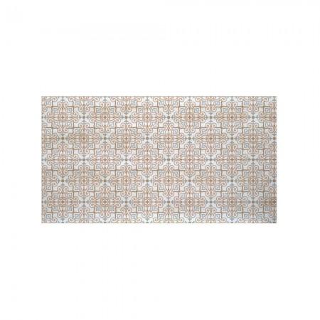 Cabecero decapado blanco impreso baldosa marrón