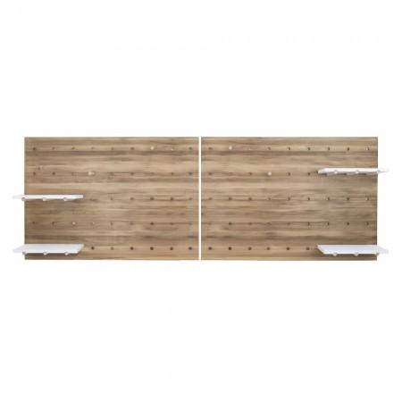 Tête de lit en vieux bois panneau d'accesoires