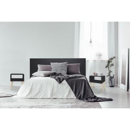 Tête de lit en bois noir