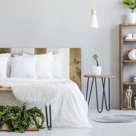 Tête de lit bois vintage combiné blanc et vieilli