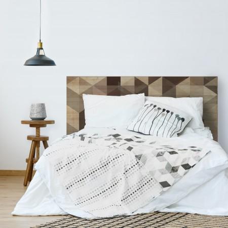 Tête de lit en bois naturel géométrique marron