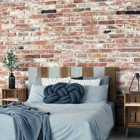 Tête de lit bois vintage vert bleuté et vieilli