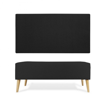 Tête de lit en polyester lisse noir + trottoir