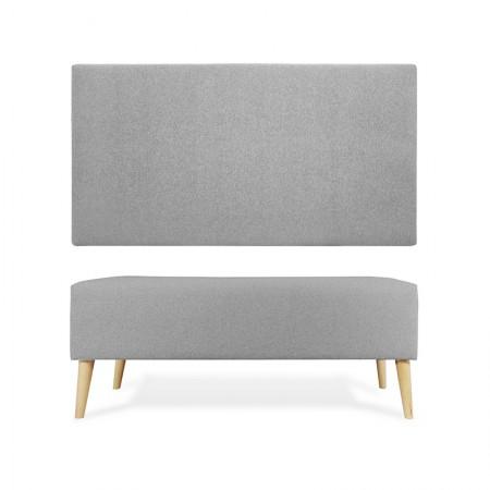 Tête de lit + tabouret gris lisse en polyester