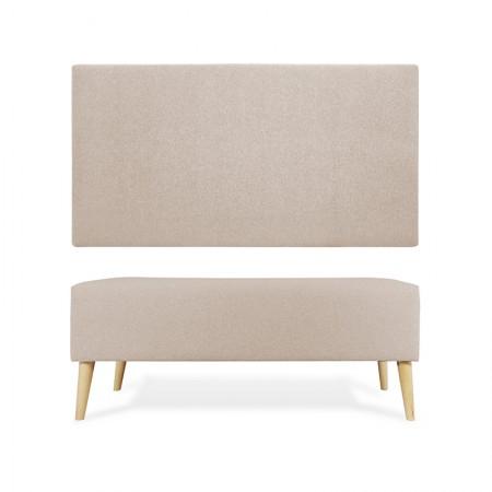 Tête de lit en polyester lisse beige + trottoir