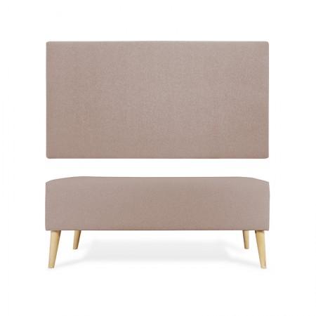 Tête de lit en polyester lisse marron + trottoir