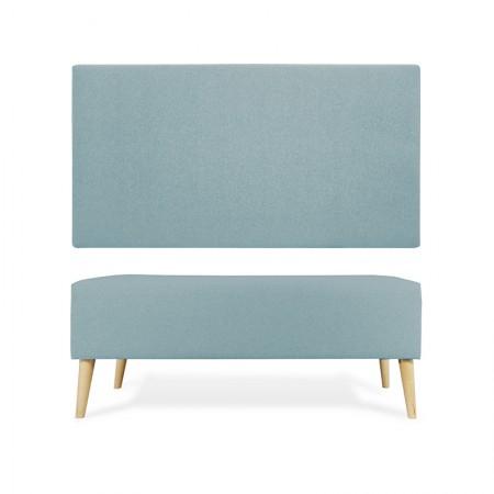 Tête de lit en polyester lisse vert bleuâtre + trottoir