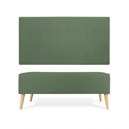 Tête de lit en polyester lisse vert + trottoir