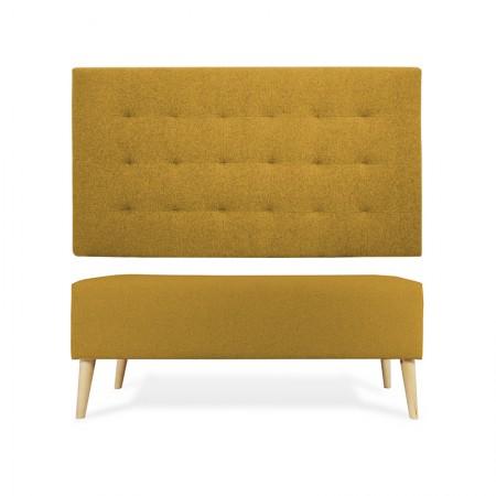 Tête de lit en polyester plisseé moutarde + banquette