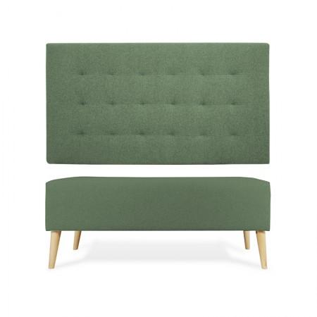 Tête de lit en polyester plisseé vert + banquette