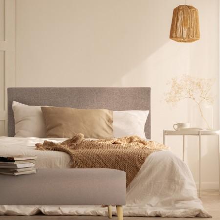 Tête de lit polyester lisse marron