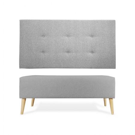 Tête de lit en polyester bountons gris + banquette