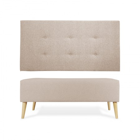 Tête de lit en polyester bountons beige + banquette