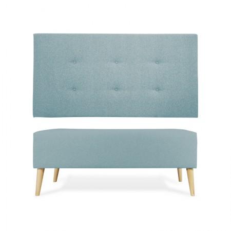 Tête de lit en polyester bountons vert bleuâtre + banquette