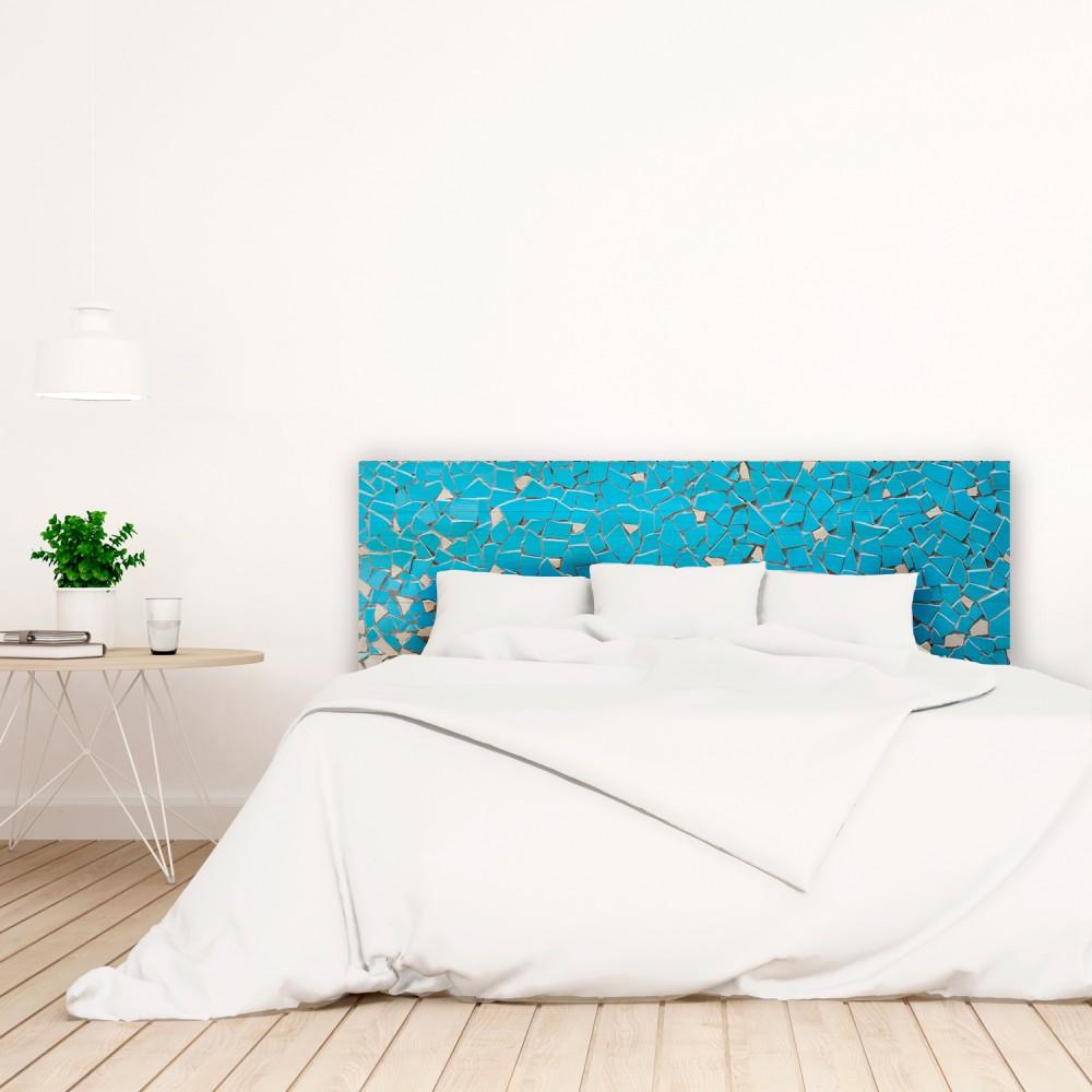 t te de lit blanche avec mosa que bleu imprim vente de toutes sortes de t tes de lit online. Black Bedroom Furniture Sets. Home Design Ideas