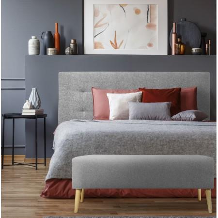 Tête de lit en polyester plisseé noir + banquette