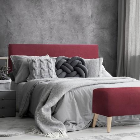 Tête de lit polyester lisse grenat