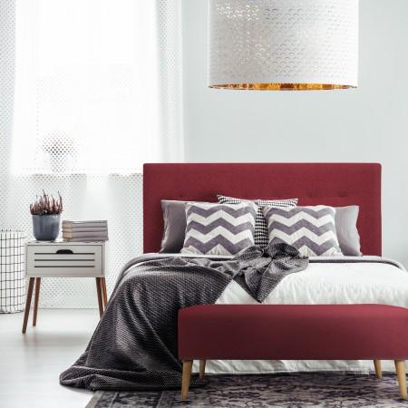 Tête de lit en polyester plisseé grenat + banquette