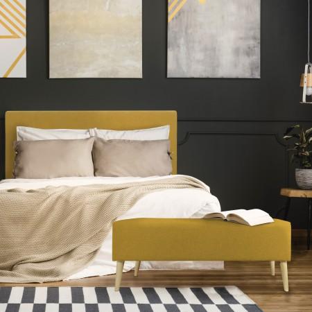 Tête de lit polyester lisse moutarde