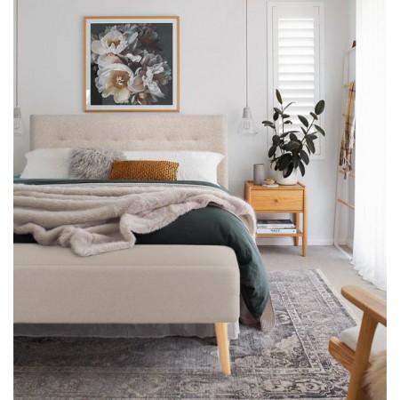 Tête de lit en polyester plisseé beige + banquette