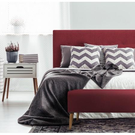 Tête de lit polyester plis grenat