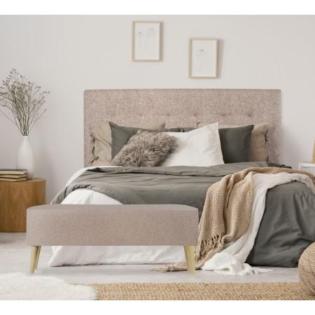 Tête de lit en polyester plisseé marron + banquette