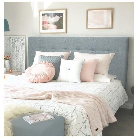 Tête de lit polyester plissée bleu-vert