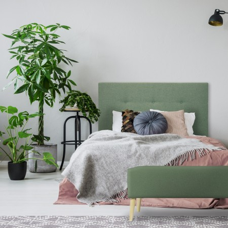 Tête de lit en polyester bountons vert + banquette