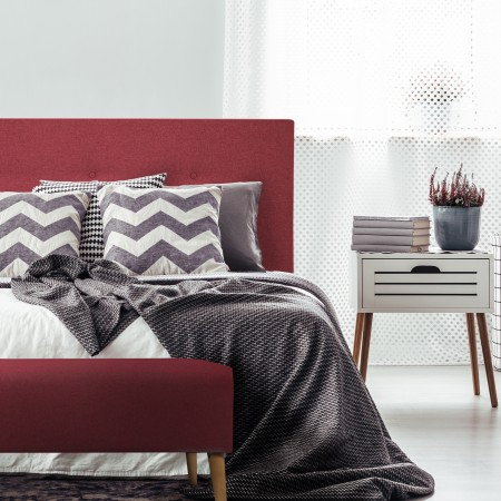Tête de lit polyester boutons grenat