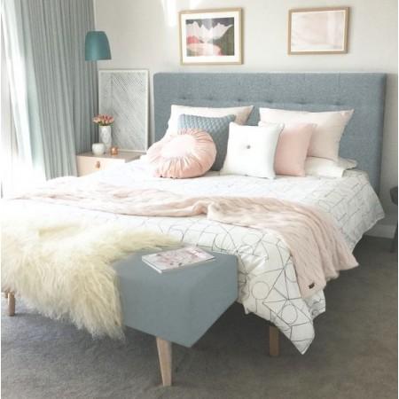 Tête de lit en polyester plisseé vert bleuâtre + banquette