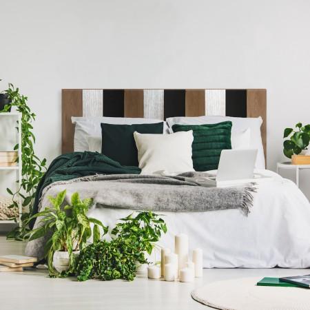Tête de lit bois combiné noire