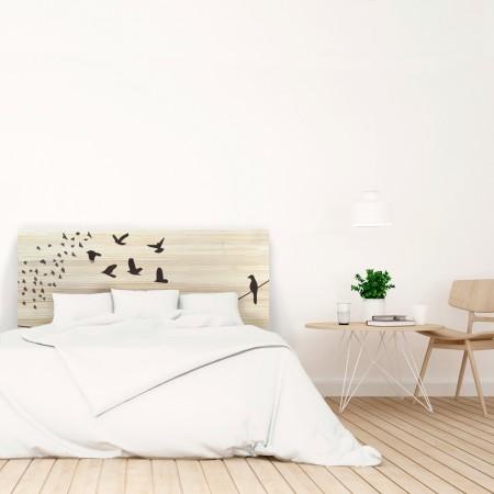 Tête de lit en bois naturel oiseaux