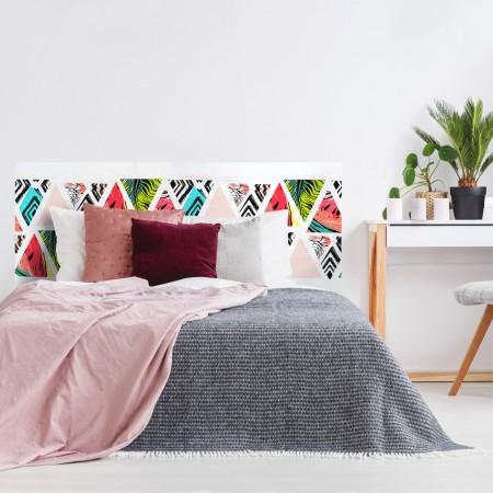 """Tête de lit décapée """"triangles tropicaux"""""""