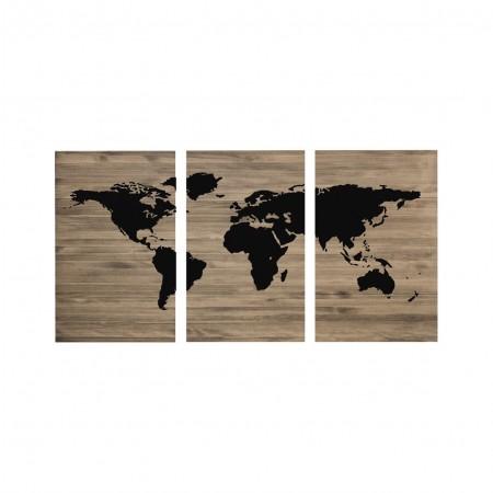 Carte du monde triptyque tête de lit