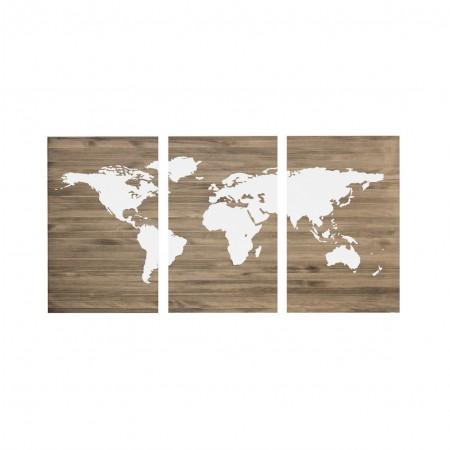 Tête de lit antique triptyque carte du monde blanc