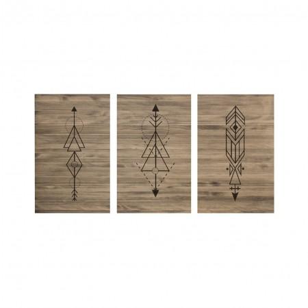 Tête de lit à trois volets âgés de flèches géométriques