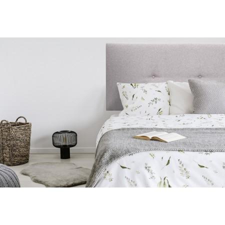 Tête de lit tapissée boutons Hoola lavande