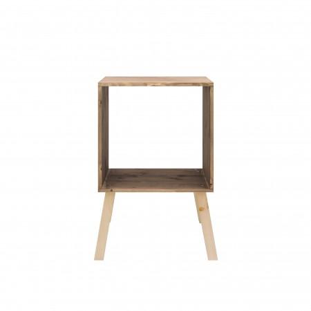 Table de chevet sapin carrée avec finition effet vieilli