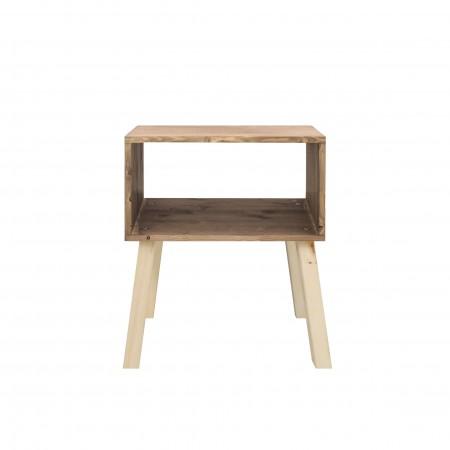 Table de chevet rectangulaire en sapin avec finition vieillie