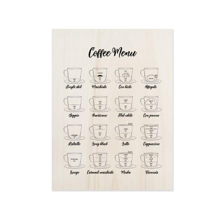 Boîte en bois Coffee Menu